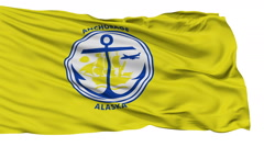 Isolated Waving National Flag of Anchorage City - stock footage