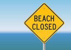 Beach Closed sign - stock illustration