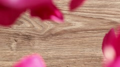 Valentine's Day rose petals falling. wood background. Stock Footage