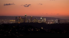 Time Lapse of the Los Angeles City Skyline at Sunset From a High Angle View Stock Footage