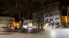 4k Lagos city night timelapse central place Portugal Stock Footage