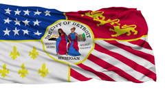 Isolated Waving National Flag of Detroit City - stock footage