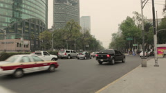 Cars traffic in Paseo de la Reforma, Mexico City Stock Footage