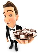 3d waiter holding plate with various chocolates - stock illustration