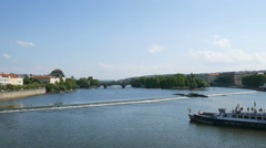 View to the Vltava river in Prague Stock Footage