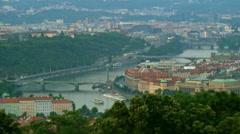 Aerial view of Prague bridges with miniature effect Stock Footage