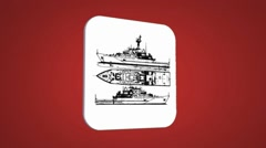 War boat - Transition Blueprint - red 01 Stock Footage