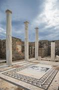 Pillars and tile floor at ruins Stock Photos
