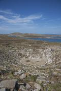Aerial view of amphitheater ruins, Delos, Cyclades, Greece Stock Photos