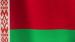 Animation of the full fluttering national flag of Belarus isolated on white Stock Footage