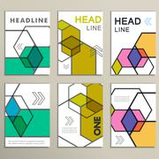 Vector hexagon infographics set. 6 template for diagram and presentation - stock illustration