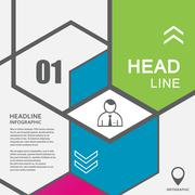 Vector line hexagon infographic. Template for diagram and presentation - stock illustration