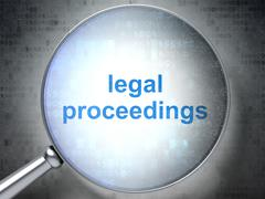 Law concept: Legal Proceedings with optical glass Stock Illustration