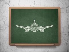Tourism concept: Aircraft on chalkboard background - stock illustration