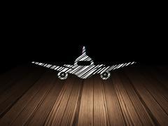 Tourism concept: Aircraft in grunge dark room - stock illustration