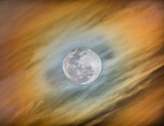HDR capture of the halo around the moon - stock photo