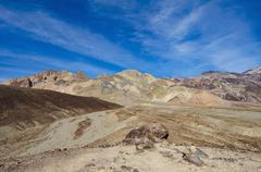 Mountains and blue sky in desert landscape, Death Valley, California, United Stock Photos
