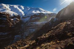 Atlas Mountains hillside in remote landscape, Morocco Stock Photos