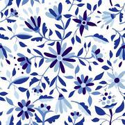 Vintage flower pattern in indigo blue color Stock Illustration