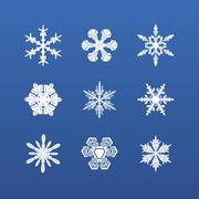 Snowflake winter set. Vector - stock illustration