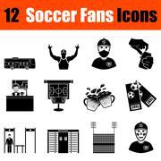 Set of soccer fans icons - stock illustration
