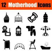 Set of motherhood icons Stock Illustration