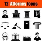 Set of attorney  icons - stock illustration