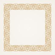 Vintage baroque floral frame. Vector gold - stock illustration