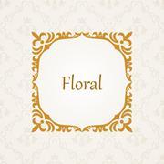 Calligraphic frame. Vector vintage elegant text border - stock illustration