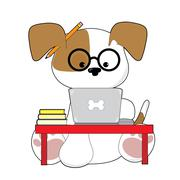 Cute Puppy and Laptop Stock Illustration