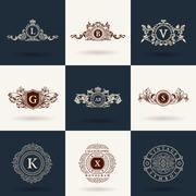 Vintage flourishes elements. Calligraphic ornaments set - stock illustration