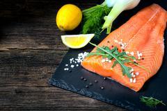 Salmon filet ready to cook. - stock photo