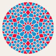 Vector Blue Red Islamic Ornamental Rosette Circle Design Element - stock illustration