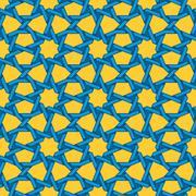 Vector Seamless Blue Yellow Islamic Interlacing Line Star Geometric Pattern - stock illustration