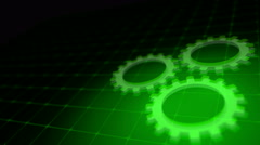 Concept of cooperation process - green neon gears loop 3D render - stock footage