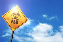 Yellow road sign with a blue sky and white clouds: Influenza vir - stock illustration