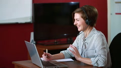 Woman leading online video consultation. telework concept Stock Footage