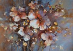 Almonds blossom handmade painting Stock Illustration