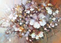 Almonds blossom handmade painting - stock illustration
