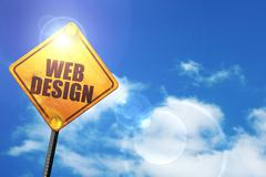 Yellow road sign with a blue sky and white clouds: web design Stock Illustration