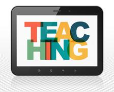 Learning concept: Tablet Pc Computer with Teaching on  display Stock Illustration
