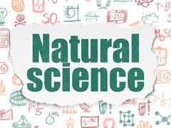 Science concept: Natural Science on Torn Paper background - stock illustration