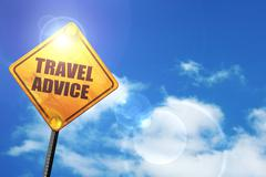 Yellow road sign with a blue sky and white clouds: travel advice - stock illustration