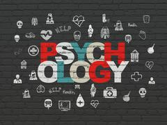 Health concept: Psychology on wall background - stock illustration