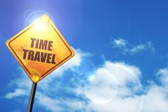 Yellow road sign with a blue sky and white clouds: time travel - stock illustration