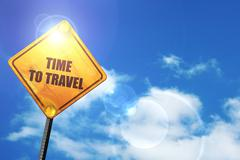 Yellow road sign with a blue sky and white clouds: time to trave - stock illustration