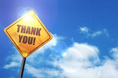 Yellow road sign with a blue sky and white clouds: thank you - stock illustration