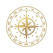 Hand drawn compass wind rose symbol - stock illustration