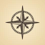 Hand drawn compass wind rose symbol - stock illustration