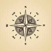 Hand drawn compass wind rose symbol Stock Illustration